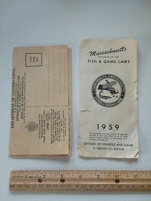 Massachusetts Fish & Game Rules 1946 and 1959, Hunting Fishing, Laws, Regulation