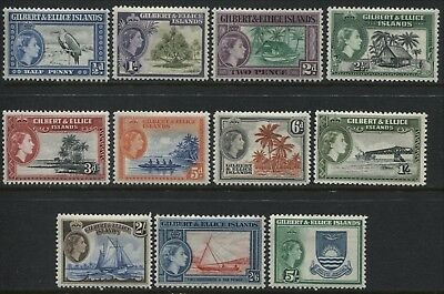Gilbert & Ellice Islands 1st QEII set to 5/ mint o.g. (JD)