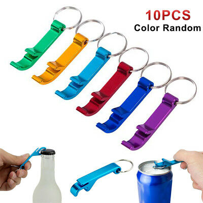 10Pcs Bottle Opener Key Ring Chain Keyring Keychain Metal Beer Bar Tools Claw US