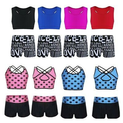 Kids Girls Tankini Dance Athletic Booty Short Outfit Running Gym Workout Clothes
