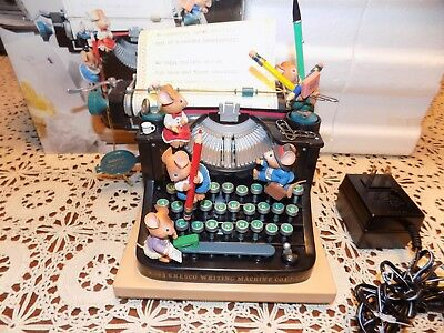 Enesco Action Music Box Take This Job and Love It with Mice On a Typewriter