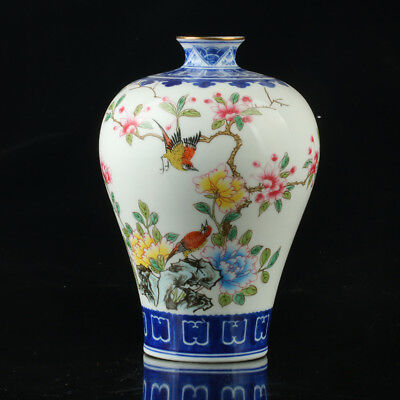 Chinese Porcelain Hand-Painted Flower Vase Mark As The Qianlong Period  R1004+a