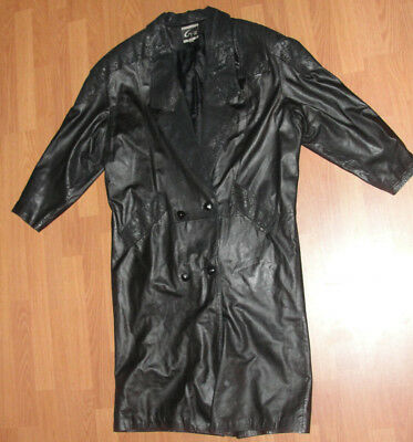 "Global Identity G-III Womens Leather Duster Coat 48"" Long Perfect Condition"