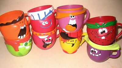 Set Of All 8 Funny Face Mugs By Pillsbury 1970 Goofy Grape Lefty Lemonade +++++