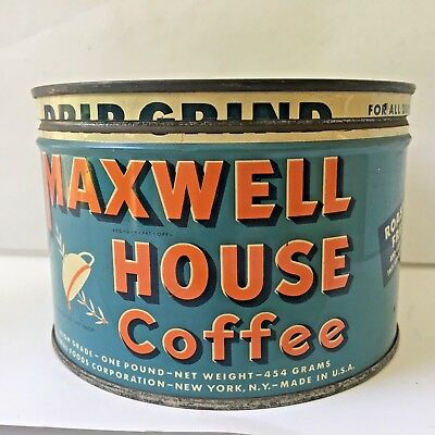 VIntage MAXWELL HOUSE Coffee Drip Grind Blue Key-Wind One Pound Tin Can