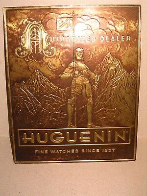 Early Foil Over Cardboard Huguenin Watch Sign Amazing Store Display Piece