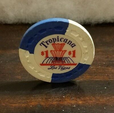 Rare $1 Tropicana Las Vegas Issued in 1950s Small Crown Mold Blue White SCARCE