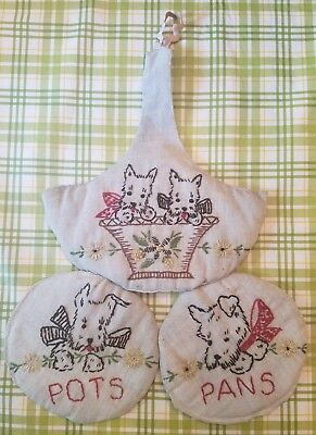 Three Vintage Hot Pads/Holders with Embroidered Scottie (Scottish Terrier) Dogs