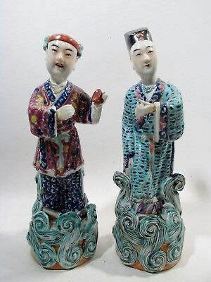 Antique CHINESE Export Porcelain FAMILLE ROSE Pair FIGURINES Cantonese Musicians