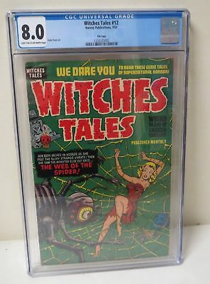 VINTAGE 1952 Harvey Comic WITCHES TALES #12 CGC 8.0 CLASSIC COVER!