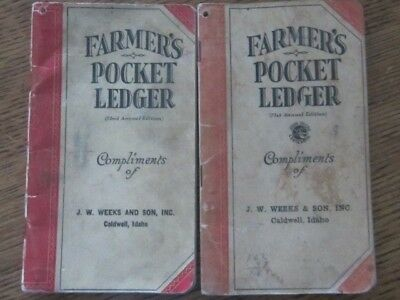 Vintage 1937 and 1938 Farmers Pocket Ledger - John Deere - Caldwell Idaho