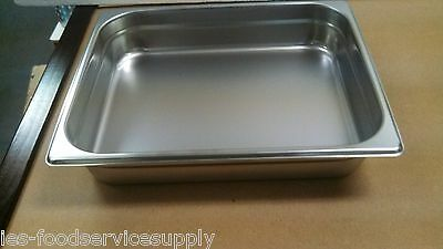 """(Lot Of 6) Half Size 2"""" Deep Stainless Steamtable Pans Hot Food Table Steam Pan"""