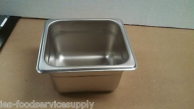 """(Lot Of 6) Sixth Size 4"""" Deep Stainless Steamtable Pans Hot Table Food Steam Pan"""
