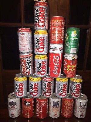 Vintage Coca Cola Coke 20 Ct Lot Advertising Cans Soda 1980s England Middle East