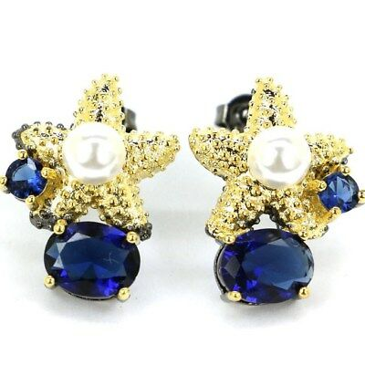 Sublime Antique Vintage Tanzanite White Pearl Black Gold Silver Earrings