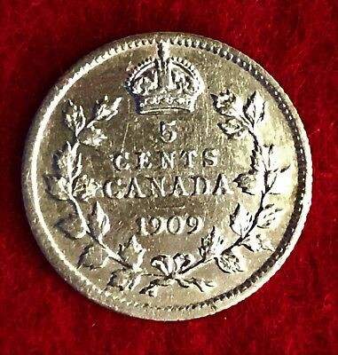 "Canada 1909 5 CENTS ""Pointed Leaves""  .0345 ounces of SILVER!"