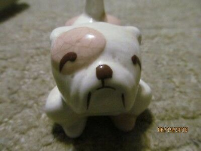 """Vintage Bulldog Figurine Ceramic Statue About 3 1/4"""" in Length X 3 """"High At Tail"""