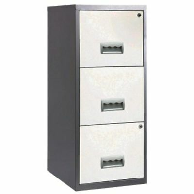3 Drawer Pierre Henry Steel White & Silver Lockable Filing Cabinet A4 - New