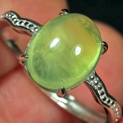 11.55CT 100% Natural 18K Gold Plated Green Prehnite Cab Ring UDPG157