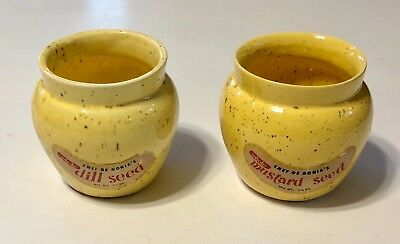 """Vintage Lot 2 Yellow Miniature Crocks """"Chef De Gonia's Dill Seed """""""