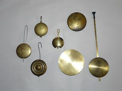 Lot of 7 Antique Vintage Clock Pendulums for Mantle and Wall Clocks Used