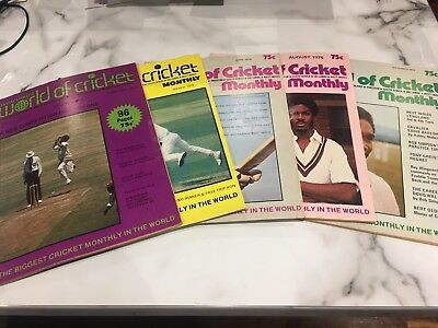 World Of Cricket Monthly Magazines 1976, 5 Different - Good Condition