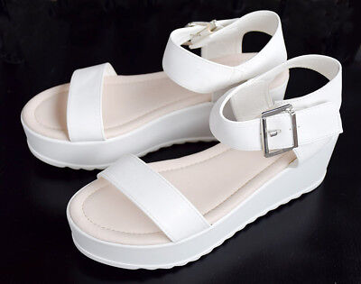 938f60016a8a J. Adams Women s Platform Sandals Size 8 Chunky Wedges Open Toe White Shoes