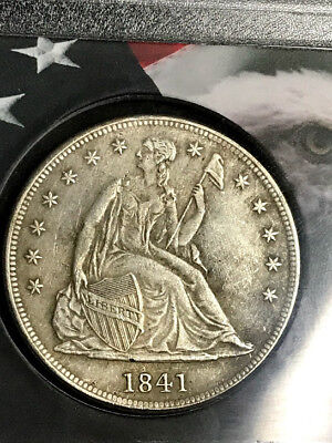 1841 Seated Liberty Silver $1 Dollar Details Very Rare Nice Strike