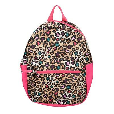 "15"" Kids Pink Leopard Backpack Pre School Toddler Book Bag Preschool"