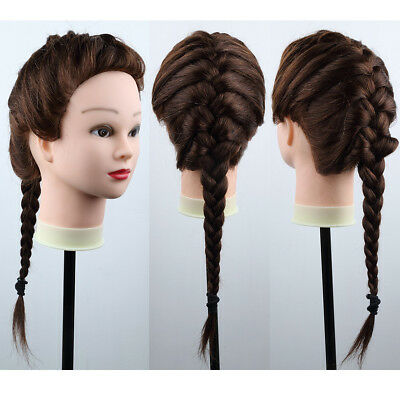 """22""""-26"""" Human Hair Practice Hairdressing Training Head Mannequin Doll + Clamp"""