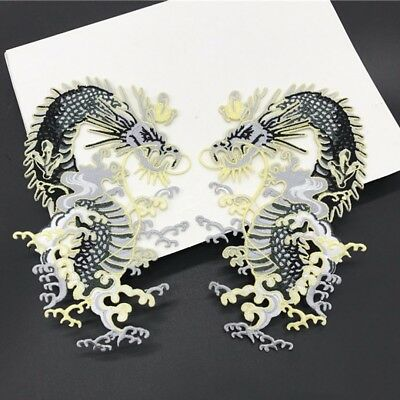 Dragon Embroidered Patch Sew On Iron On Badge Dress Fabric Applique Crafts DIY