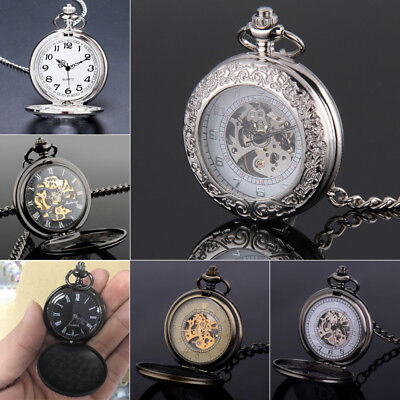 Mens' Pocket Watch Antique Polished Engraving with Chain Hands Mechanical Watch