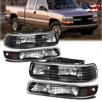 for 99-02 Silverado 00-06 Tahoe Suburban Headlights Headlamps Bumper Lamps Pair