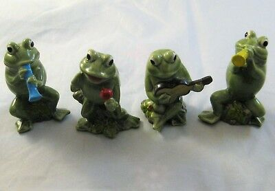 Vintage Norcrest Hand Painted 4 Piece Frog Band Figurines
