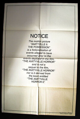 1982Amityville 2: The Possesion ORIGINAL  HORROR POSTER Special Notice Version