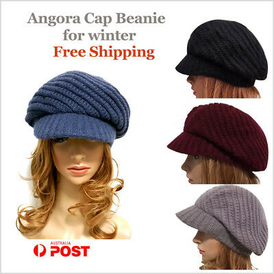 Angora Cap Beanie for Winter Women Hat Peak Beret -Stock from Sydney free Ship