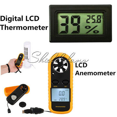 NTC Thermometer Digital Mini LCD Wind Speed Gauge Air Velocity Meter Anemometer