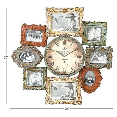 Large Antique Metal Wall Clock Contemporary Home Office Decor With Photo Frame