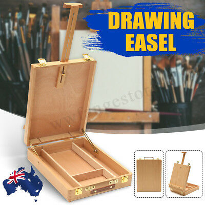 AU Portable Folding Easel Art Drawing Painting Wood Table Desktop Box Board