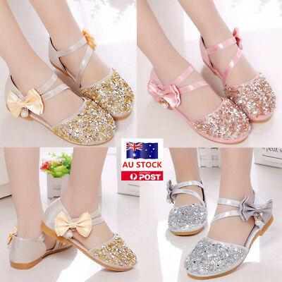 AU Girls Toddler Children Glitter Bow Princess Flat Shoes Party Casual Sandals