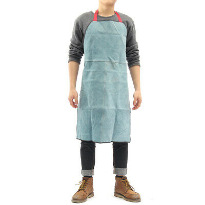 Welding Apron Heat Insulation cowhide Leather Butcher Welder Carpenter Dark Blue