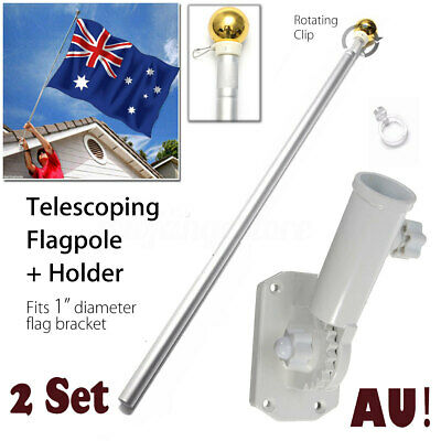 2X 1.55M Aluminium Australian Aussie Flag Pole Telescoping Flagpole+ Holder Set