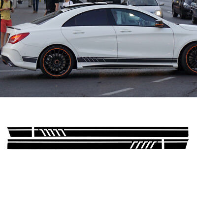 Gloss Black Car Side Stripe Stickers For Mercedes Benz W117 C117 X117 CLA AMG