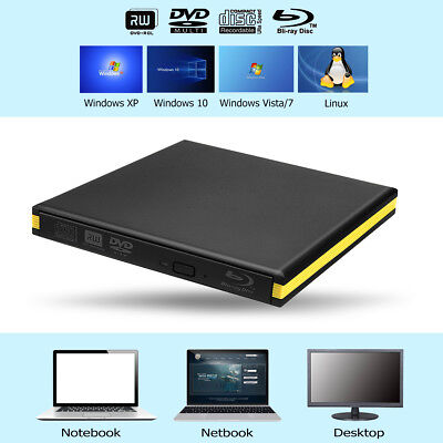 3.0 USB Blu Ray Writer Reader CD/DVD Connector Interface External For Laptop PC