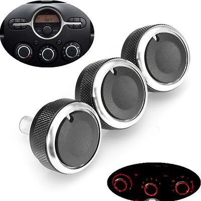 3X Car Air-Conditioning A/C Buttons Switch Panel Knob Cover For Mazda 2 Demio