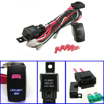AU LED Light Bar Driving Work Fog Lamp Wiring Loom Harness Kit 40A Switch Relay