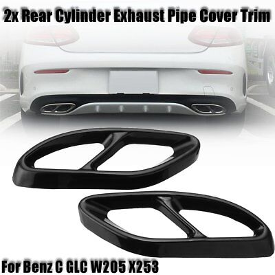 Rear Dual Exhaust Pipe Tip Pipe Cover Trim For Benz C GLC W205 X253 2015-2018