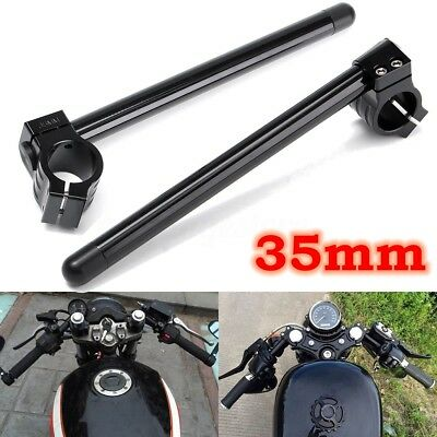 "35mm Motorcycle Black Clip-On 7/8"" Handlebar Fork Tube For Cafe Racer Universal"