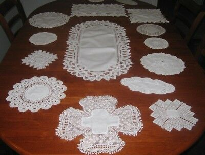 Vintage Cotton Lace Edged Table Runner & Doilies ~ White ~ Bulk Lot 15 Pieces