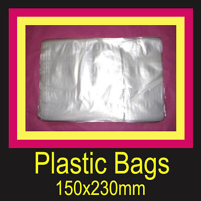 PLASTIC BAGS 1000 CLEAR POLY 150x230mm HEAT SEAL POST MAIL PACKING AUSTRALIA NEW
